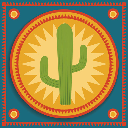 cactus desert: green cactus on blue and orange background