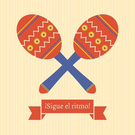 translated: poster with maracas and spanish text translated as follow the rhythm  Illustration