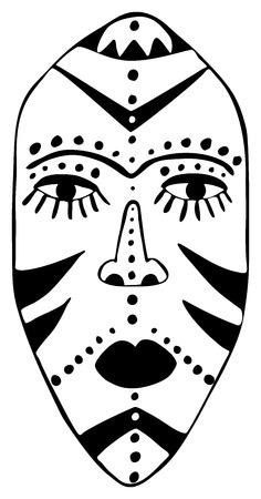 maschera tribale: stilizzato maschera tribale africana con motivi tradizionali