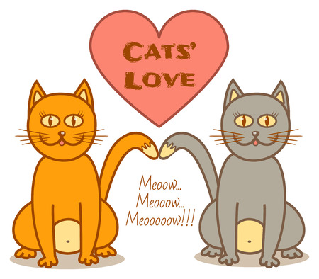 grey cat: grey and ginger cat in love sitting together Illustration