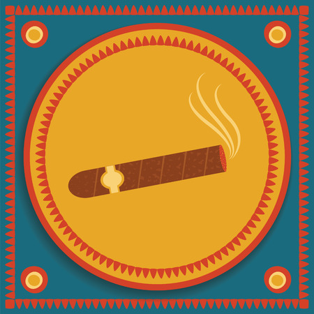 havana cigar: image of lightened cigar with smoke on background