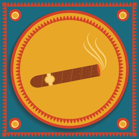 smoldering: immagine di sigaro alleggerito con fumo su sfondo Vettoriali