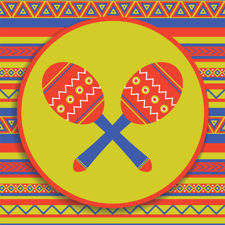traditional mexican musical instrument on patterned background Иллюстрация