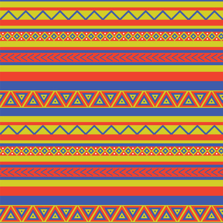 Bright coloured ethnical mexican style geometric pattern
