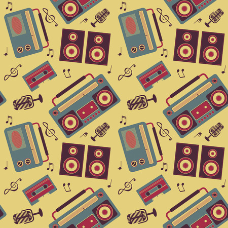 seamless vector pattern of retro music gadgets Vector