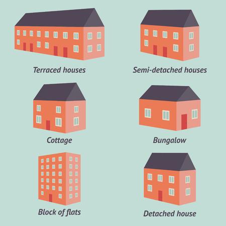 set van retro stijl huizen op een blauwe achtergrond