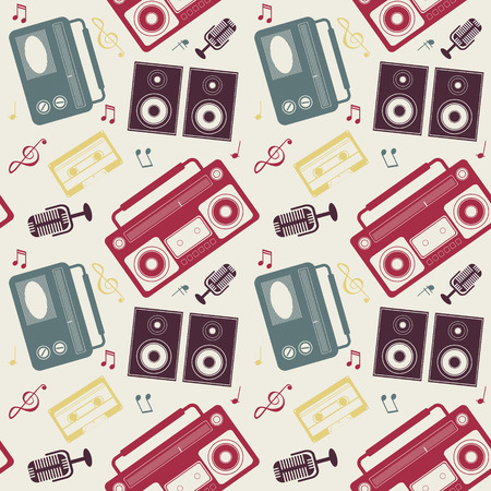 seamless pattern of different retro music gadgets Vector
