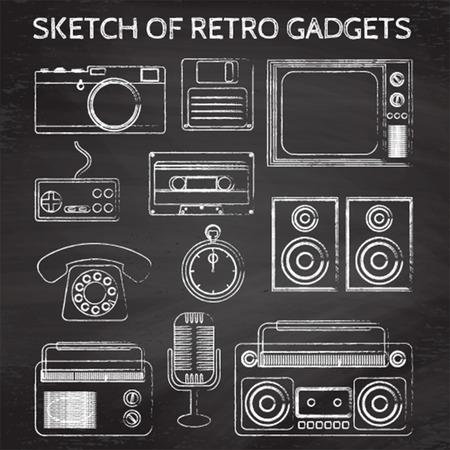 sketch of retro gadgets written on chalkboard Vector
