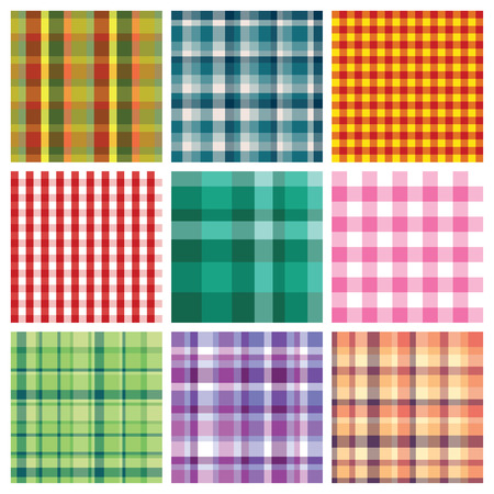 english countryside: set of nice colorful checkered prints on white background
