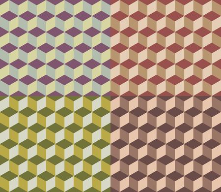 multi coloured: nice geometric cubes seamless multi coloured pattern Illustration