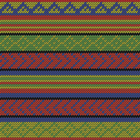 jamaican ethnicity: bright multi colored seamless knitted aztec pattern