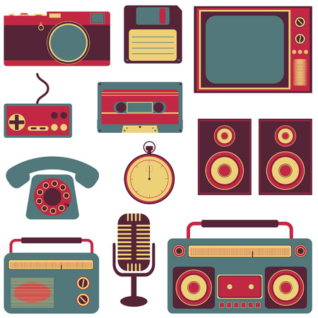 old fashioned: set of old fashioned gadget flat icons  Illustration