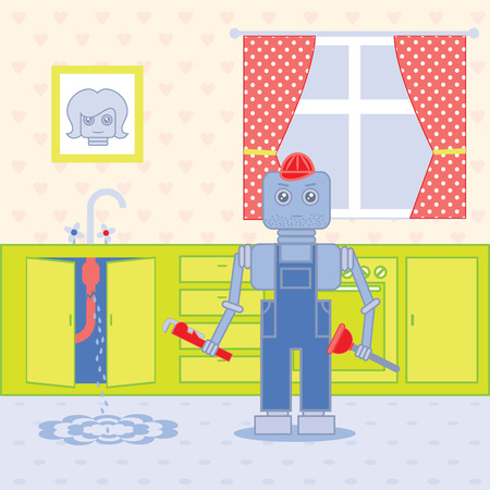 plumber standing in the kithcen with tools Vector