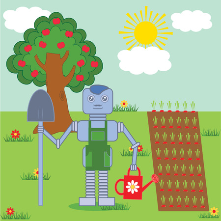 robot standing in the garden with shovel and watering pot Vector