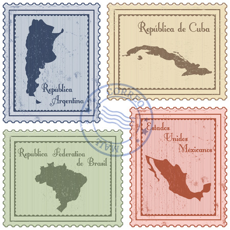 set of grunge postal stamps of Latin America countries Vector