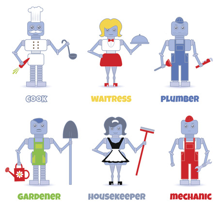 set of professions performed by cute robots