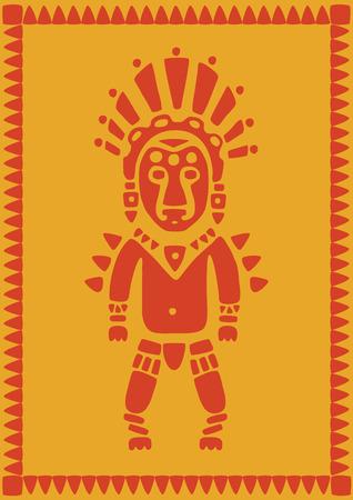stylized aztec warrior on orange background