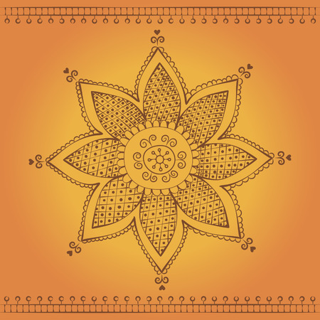 traditional indian style flower ornament on orange background Vector