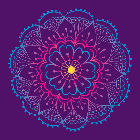 traditional indian mehndi style flower with gradient Vector