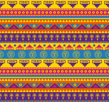 seamless fancy bright colored pattern in mexican style Vector