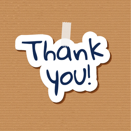 poster with paper cut thank you text on cardboard background Vector