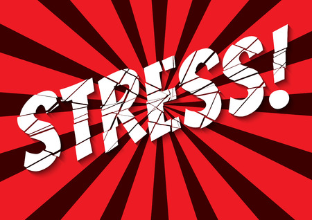 emotional stress: retro styled banner with shattered stress word Illustration