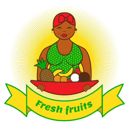 beautiful smiling woman with plate full of fruits Vector