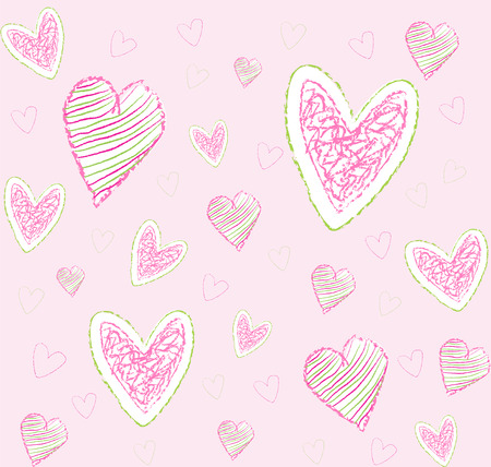 seamless pattern with hearts on pink background Vector
