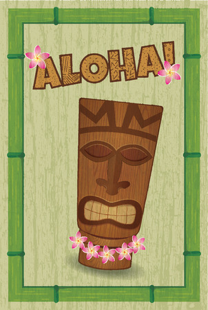 polynesian ethnicity: poster in style of hawaii with tiki-tiki and grunge effect