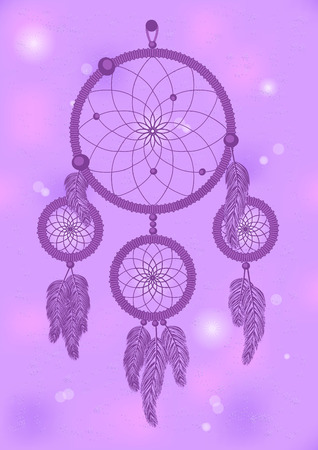 boho style violet dream catcher on violet background Vector