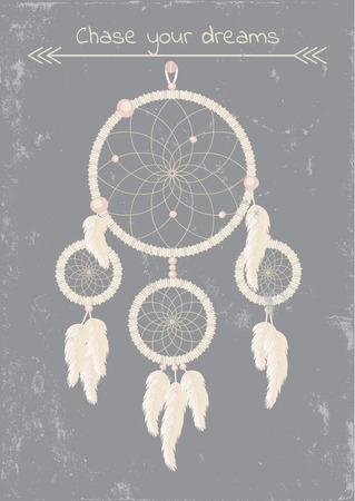 beautiful dream catcher on grunge gray background Vector