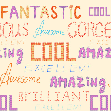 compliments: seamless vector pattern with different compliments on light background