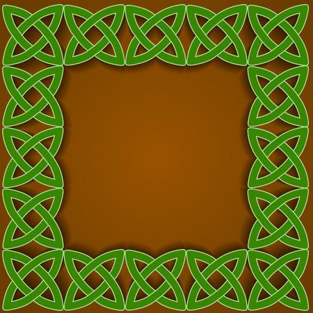 celtic background: traditional celtic ornamental border on brown background