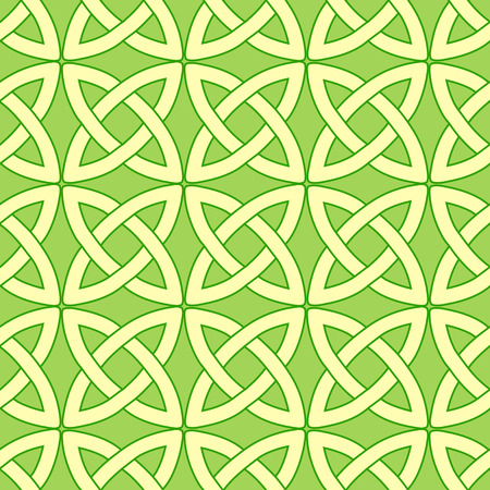 wiccan: tender spring green vector seamless pattern with celtic ornament