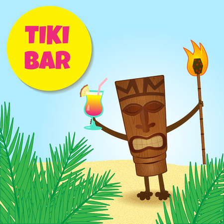 happy tiki welcoming guests with cocktail in his hand Vector