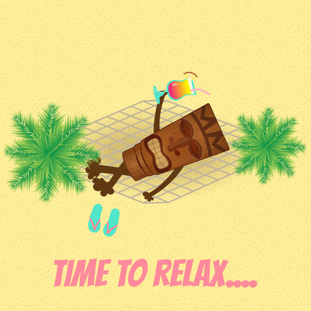 happy tiki relaxing in hammock with cocktail Vector