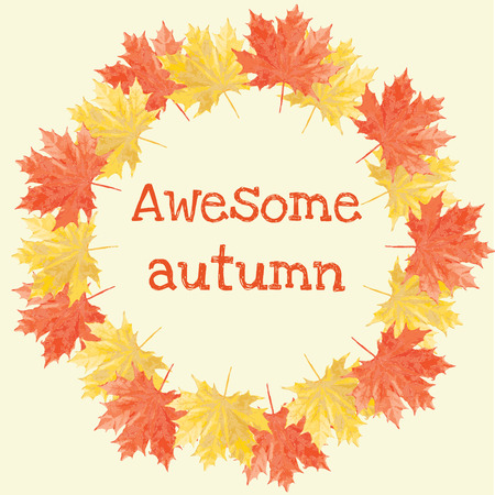 autumn design with maple leaves and awesome autumn text Vector