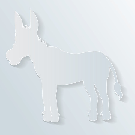 silhouette of a donkey in paper cut style Vector