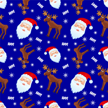 vector seamless pattern with moose and santa on blue background Vector