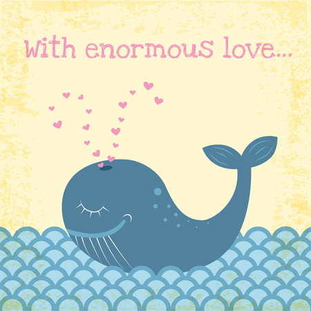 funny happy whale illustration with grunge effect Vector