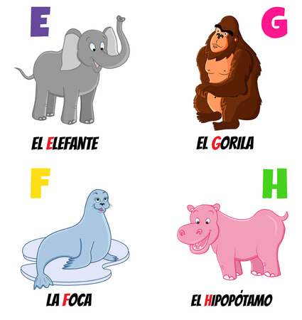 behemoth: spanish alphabet with different animals: elephant, gorilla, seal and hippo