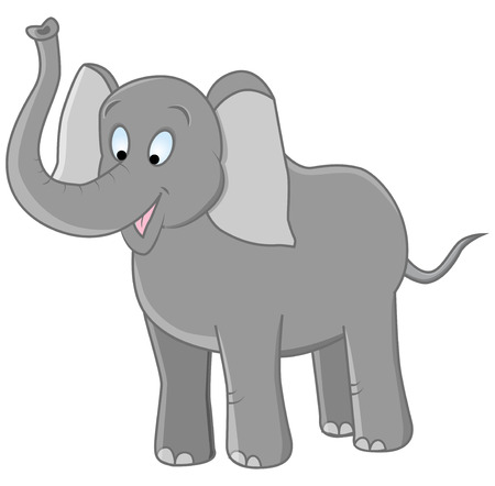 vector illustration of funny grey elephant on isolated background