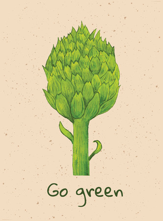 beautiful green watercolor artichoke with