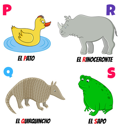 spanish alphabet with different animals: duck, armadillo, rhino and frog Vector