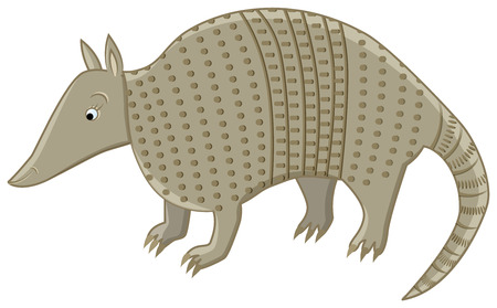 funny smiling armadillo character on isolated background Vector