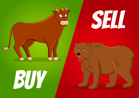 vector illustration of bull and bear with
