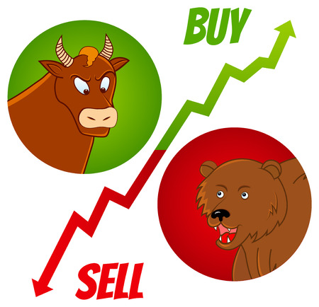 bearish business: vector illustration of bull and bear heads with buy and sell text