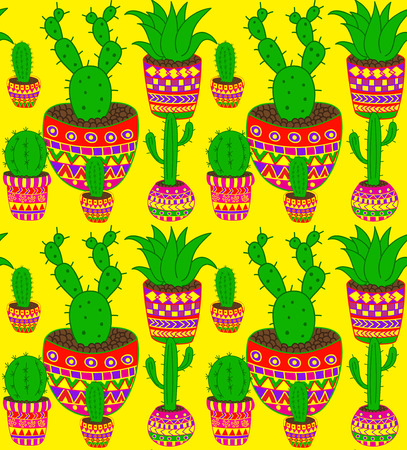 waterless: funky cactus seamless vector pattern in mexican style
