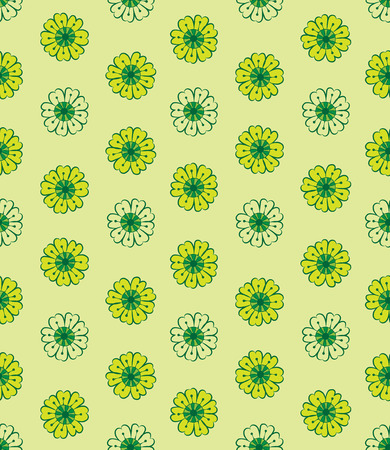 flowered: vector seamless flowered  pattern in green color scheme