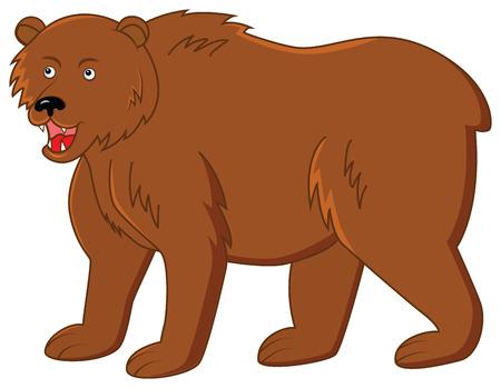 kodiak: car�cter oso sonriente divertida en el fondo aislado Vectores